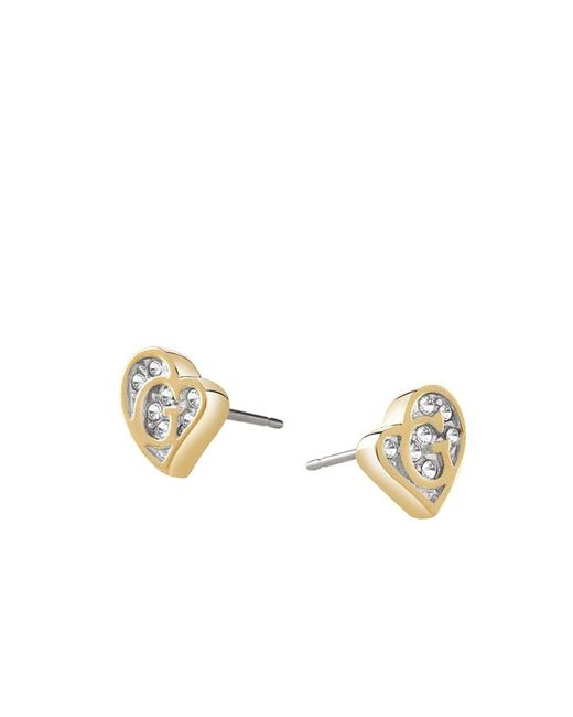 Guess | Metallic G Hearts Earrings | Lyst