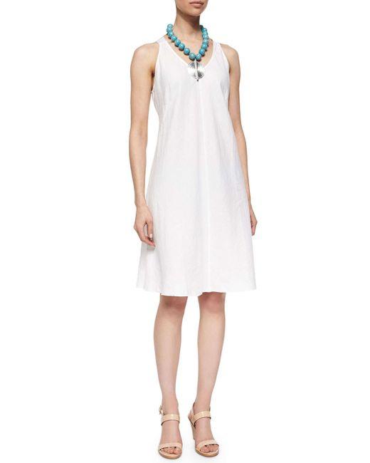 Eileen Fisher   White Sleeveless Linen Bias Dress   Lyst
