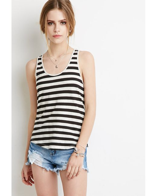 Forever 21 | Black Striped Racerback Tank | Lyst