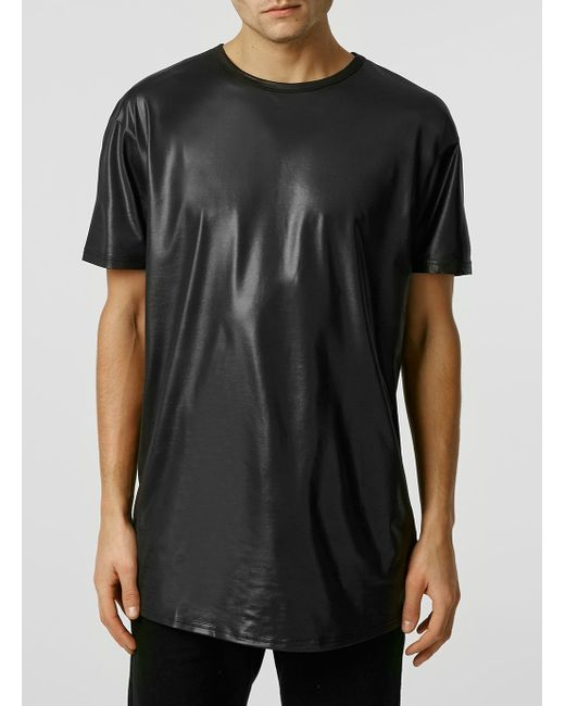 Topman Short Sleeve Wet Look Long Line T-shirt In Black