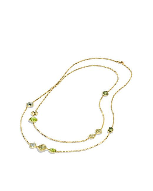 David Yurman | Yellow Chatelaine Chain Necklace With Prasiolite And Green Orchid In 18k Gold | Lyst
