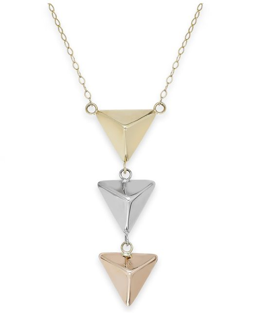 Macy's | Metallic Tri-tone Three Pyramid Necklace In 14k Gold | Lyst
