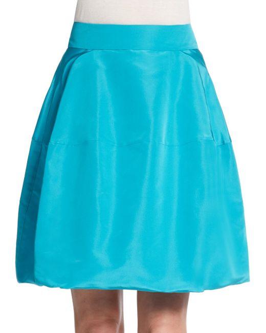 Oscar de la Renta | Blue Tucked Hem Silk Skirt | Lyst