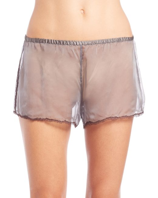 You don't need a special occasion for lace. These tap shorts are lined with mesh and covered in lace for an ethereal look. Elastic waistband. Allover lace with mesh lining. Semi-sheer. Inseam: approximately