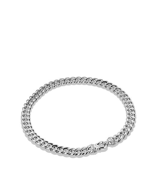 David Yurman | Metallic Cable Buckle Necklace With Diamonds, 14mm | Lyst