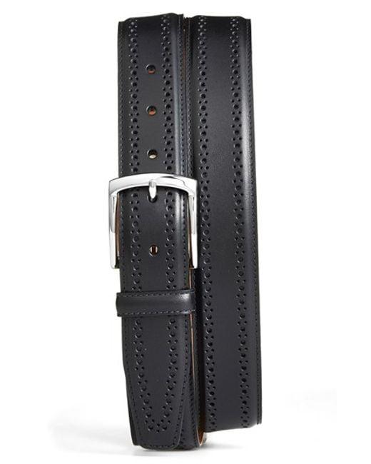 Allen Edmonds   Black 'manistee' Brogue Leather Belt for Men   Lyst