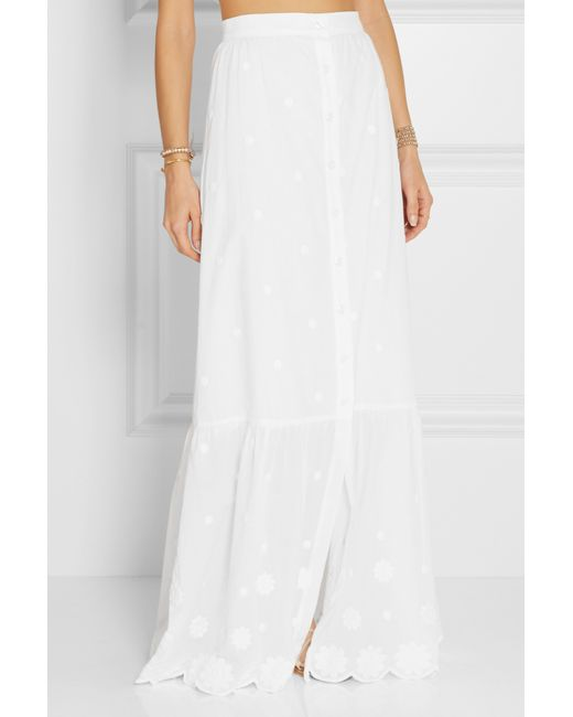 miguelina aiden embroidered cotton voile maxi skirt in