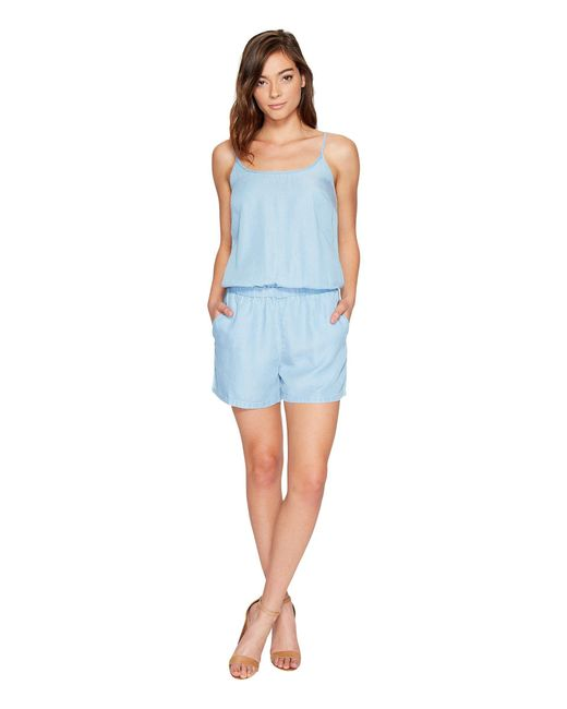 Splendid - Blue Chambray Sleeveless Romper - Lyst