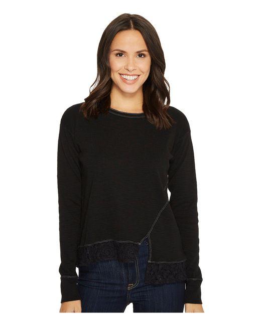 Mod-o-doc - Black Heather Slub Rib Asymmetrical Seamed Sweatshirt With Lace Trim - Lyst