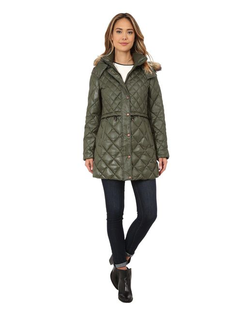 """Marc New York - Green Kava 32"""" Diamond Quilted Down W/ Faux Fur Hood - Lyst"""