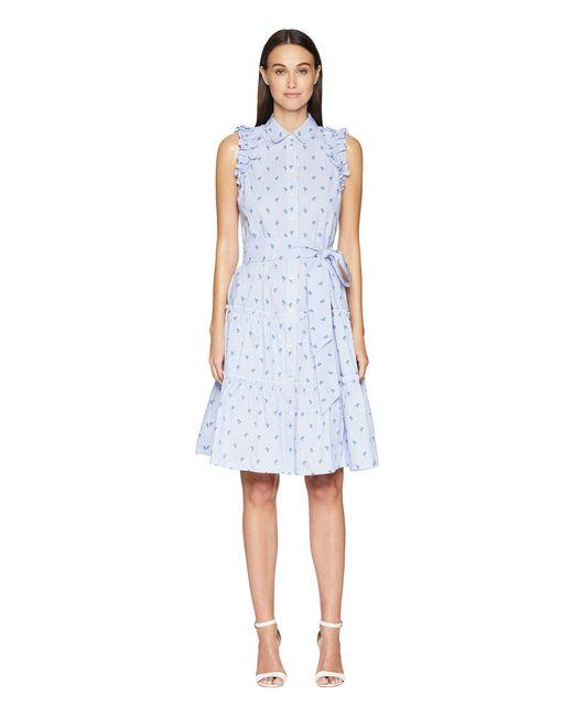 Kate Spade - Blue Sleeveless Palm Tree Dress - Lyst
