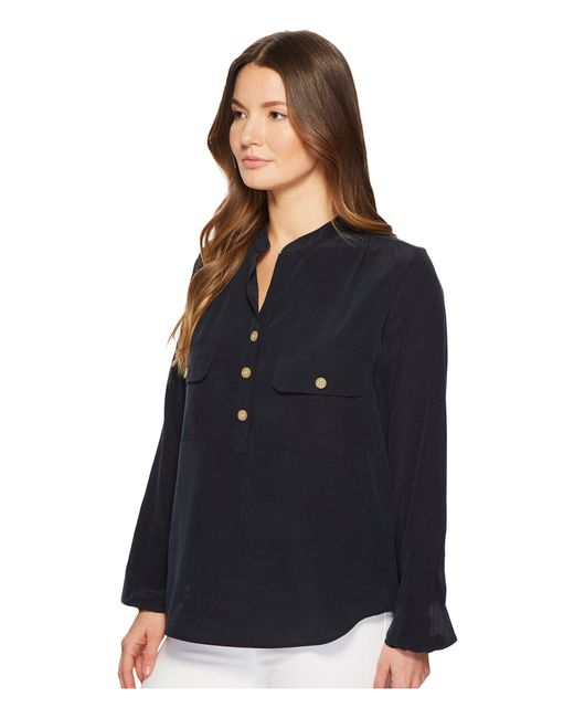 d829c89fe21e3d Lyst - Vince Utility Silk Blouse in Blue - Save 55%