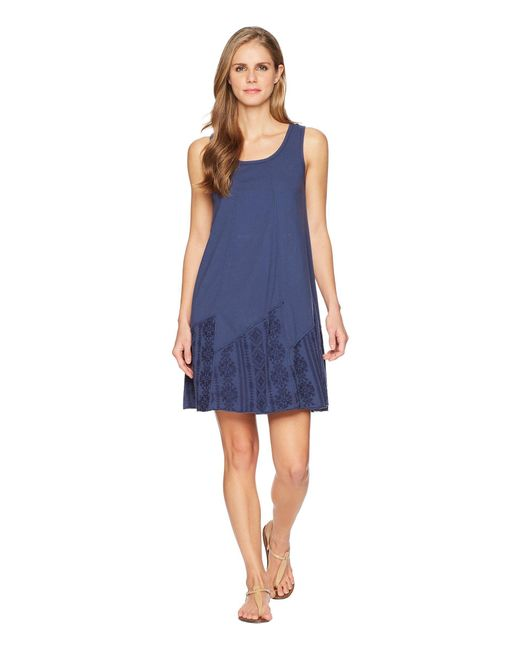 Mod-o-doc - Blue Classic Jersey Embroidered Panel Tank Dress - Lyst