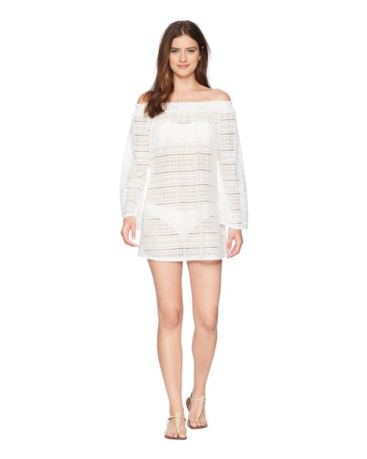 Kenneth Cole - White To The Beat Off The Shoulder Elastic Bell Sleeve Dress Cover-up - Lyst