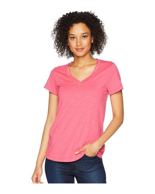 "Mod-o-doc - Pink Slub Jersey Double ""v"" Short Sleeve Tee - Lyst"