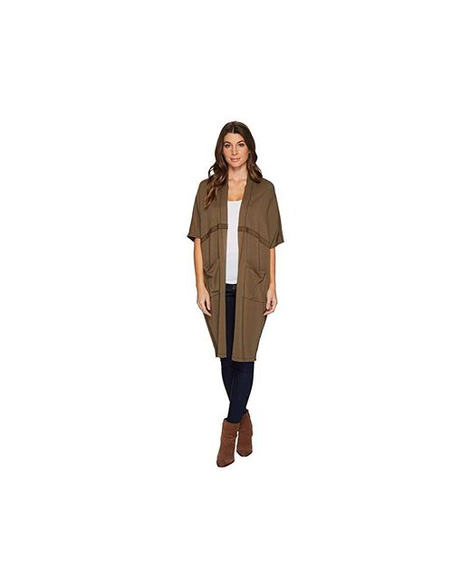 Mod-o-doc - Cotton Modal Spandex French Terry Seamed Cocoon Cardigan (herb Green) Sweater - Lyst