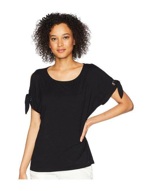 Calvin Klein - Black Short Sleeve Tee W/ Tie Sleeves - Lyst
