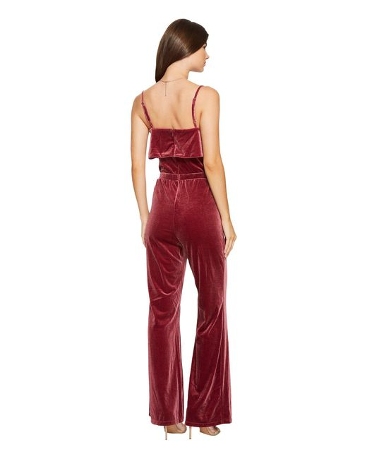 ac15c07ef51 Lyst - Jack BB Dakota Bert Velvet Jumpsuit in Red - Save 42%