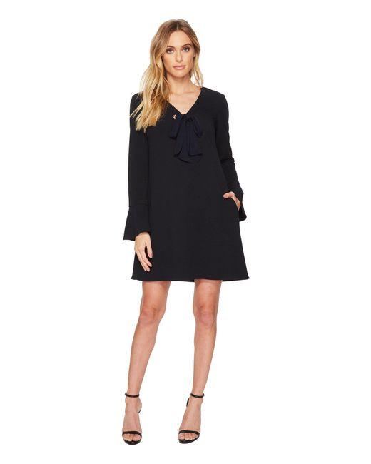 Donna Morgan - Black V-neck Shift Dress W/ Tie At Center Front Neck - Lyst