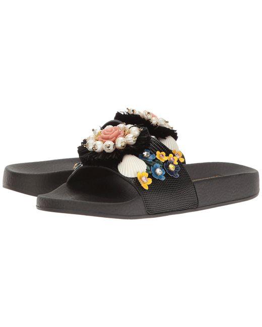 Dolce & Gabbana - Black St. Iguana/jeweled Pool Slide - Lyst