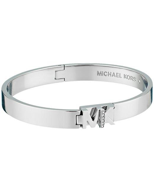 Michael Kors - Metallic Iconic Hinged Mk Logo Bangle Bracelet With Hint Of Glitz - Lyst