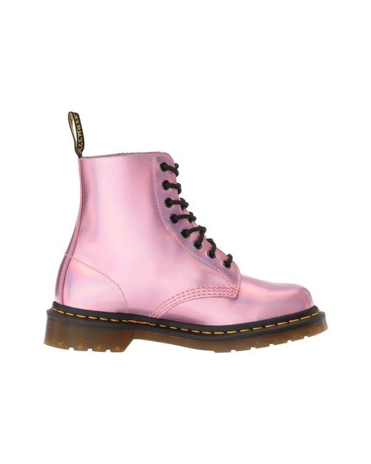Pink Reflective Metallic Pascal Lace-Up Boots Dr. Martens