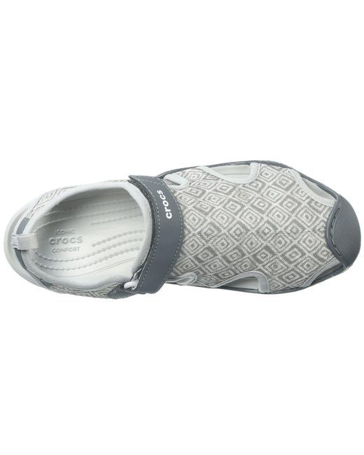efe117a29a97d7 ... Crocs™ - Gray Swiftwater Graphic Mesh Sandal - Lyst ...