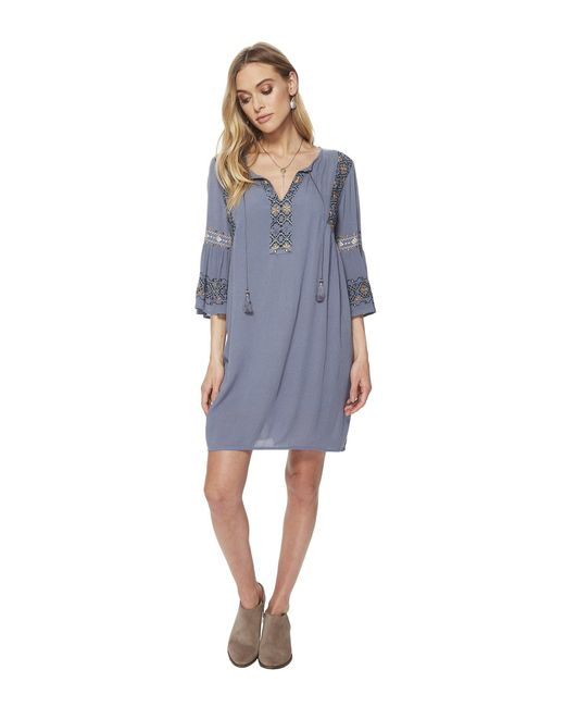 Lucky Brand - Blue Embroidered Bell Sleeve Dress - Lyst