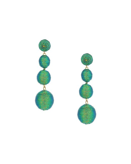 Kenneth Jay Lane - 3 Green Thread Small To Large Wrapped Ball Pierced Earrrings W/ Dome Top - Lyst