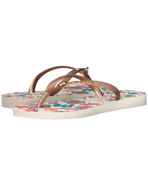 Havaianas - White Slim Flip Flop Sandals, Royal Print - Lyst