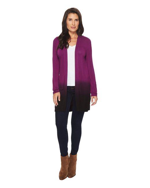 Mod-o-doc - Multicolor Rayon Spandex Jersey Dip-dye Shirred Back Cardigan - Lyst