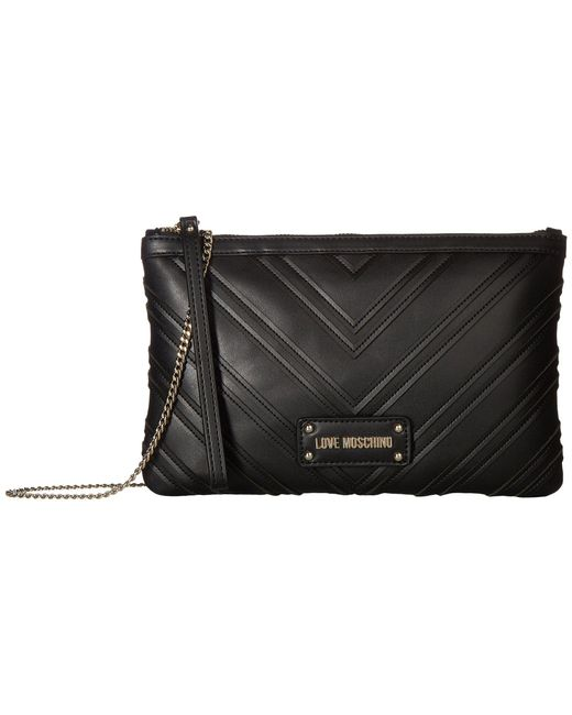 Love Moschino - Black Quilted Crossbody Chain Strap - Lyst
