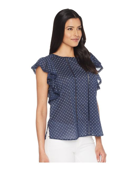 e32e6ccb621d17 ... Two By Vince Camuto - Blue Ruffle Sleeve Stitched Florets Lace-trim  Blouse - Lyst