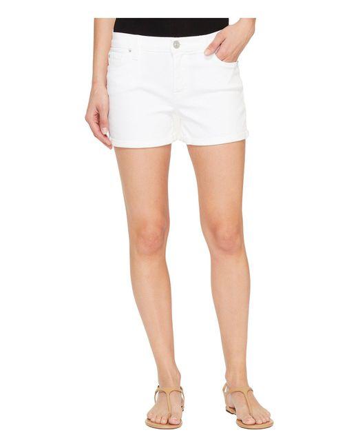 Hudson   Asha Mid-rise Cuffed Five-pocket Shorts In White   Lyst