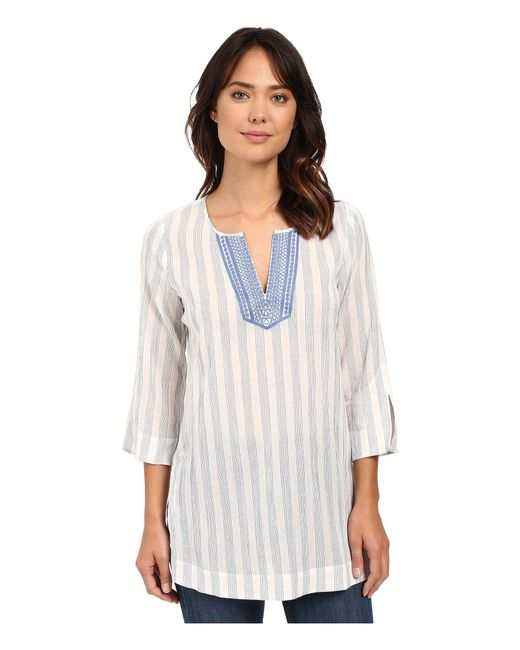 NYDJ - Blue Cotton Embroidered Tunic - Lyst