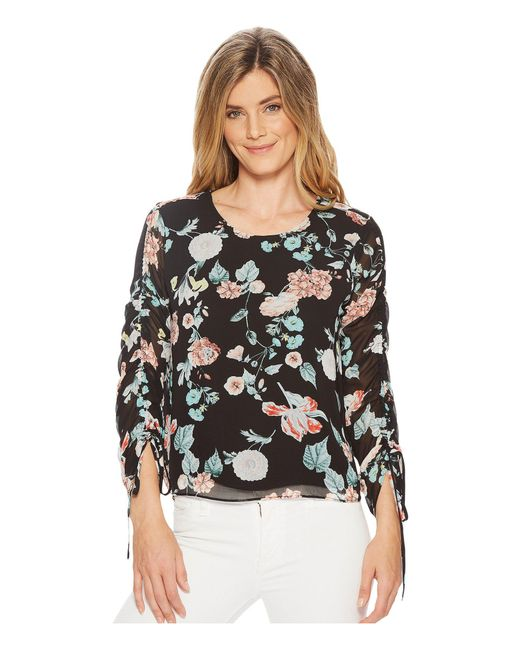 b16037f4ee3 Lyst - Vince Camuto Drawstring Sleeve Floral Gardens Blouse in Black ...