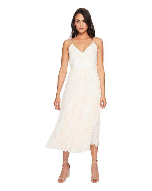 1.STATE - White Spaghetti Strap Pleated Wrap Dress - Lyst