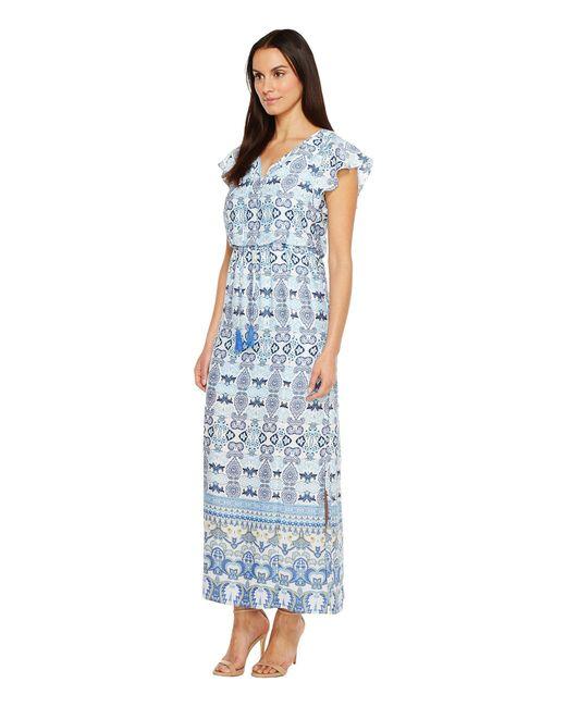 14b67c8e5e8 ... Adrianna Papell - Blue Pieced Paisley Printed Cdc Blouson Maxi Dress W   Short Sleeves ...