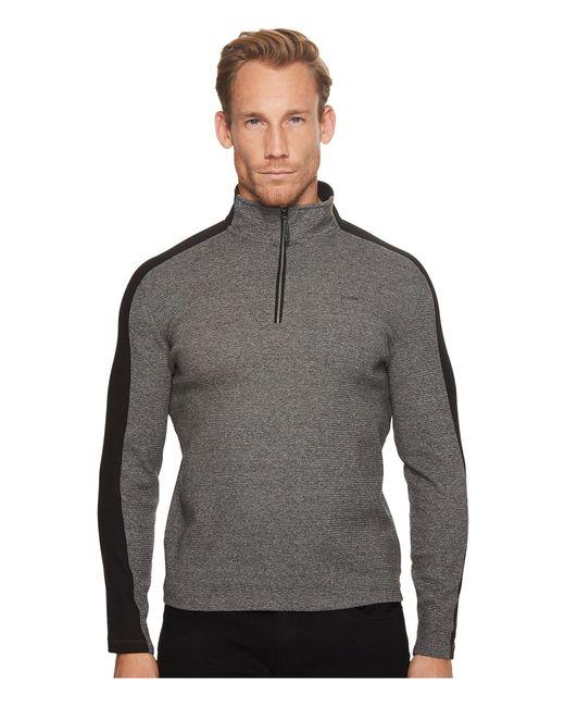 Calvin Klein - Gray Color Blocked 1/4 Zip Knit for Men - Lyst