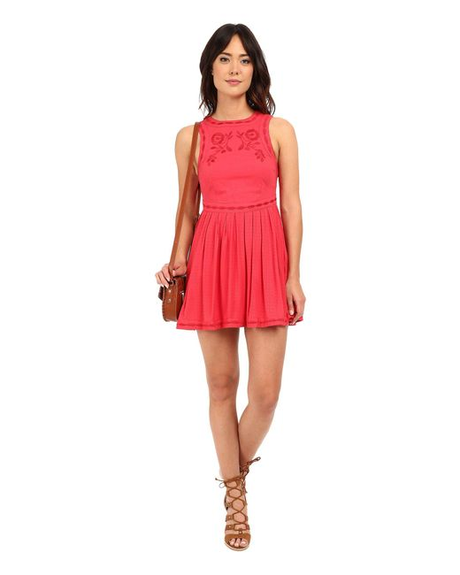 Free People - Red Birds Of A Feather Mini Dress - Lyst