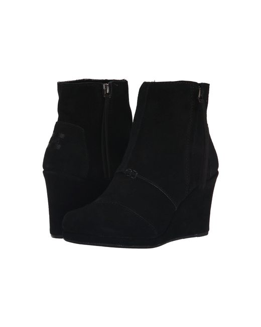TOMS - Black Suede Wedge Boots - Lyst