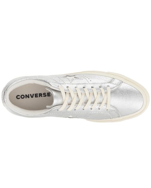 af35830c3ce49b Lyst - Converse One Star Heavy Metallic Leather Ox in Metallic