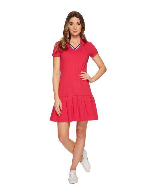 U.S. POLO ASSN. - Red Pleated Polo Dress - Lyst