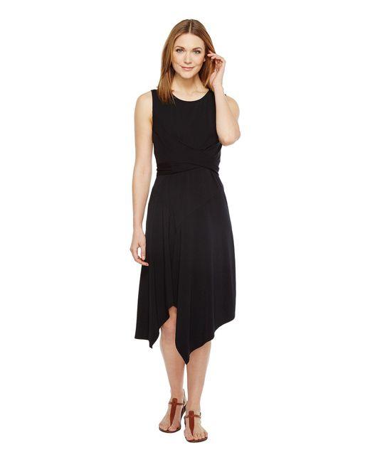 Mod-o-doc - Black Cotton Modal Spandex Jersey Faux Wrap Tie Back Dress - Lyst