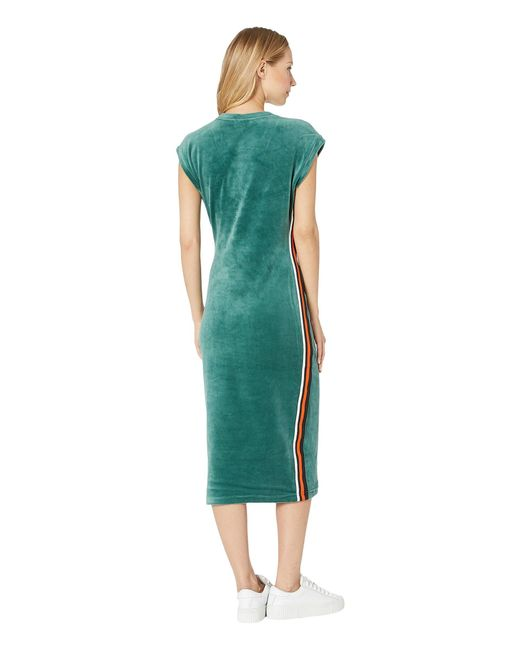c6a91e8ba404 ... Juicy Couture - Green Stretch Velour Fitted Midi Dress - Lyst ...