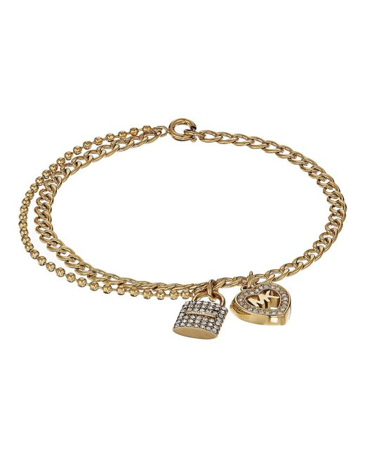Michael Kors - Metallic Love Is In The Air Pave Lock And Heart Double Strand Bracelet - Lyst