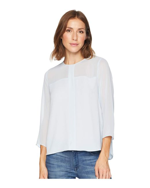Vince Camuto - White Long Sleeve Chiffon Yoke/sleeve Soft Texture Blouse - Lyst