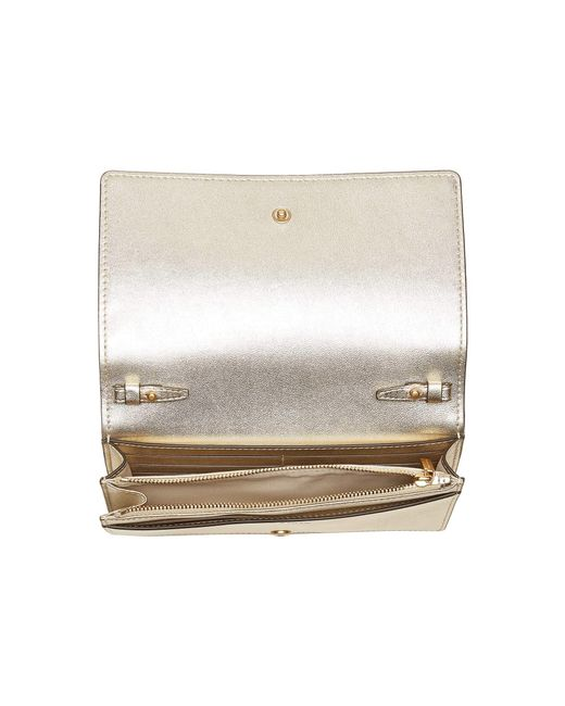5c5705ac196 Lyst - Tory Burch Fleming Metallic Flat Wallet Crossbody in Metallic ...