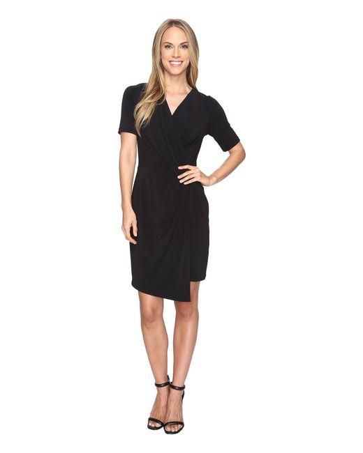 Karen Kane - Black Crossover Drape Dress - Lyst