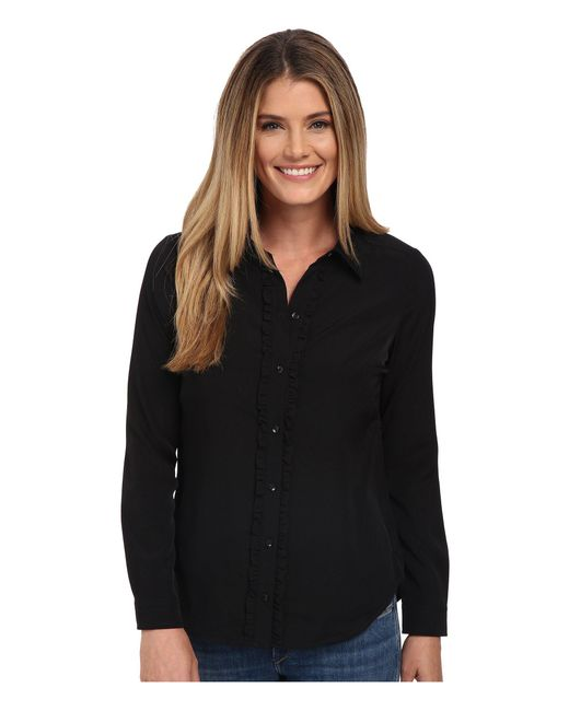 NYDJ - Black Fit Solution Ruffle Front Blouse - Lyst